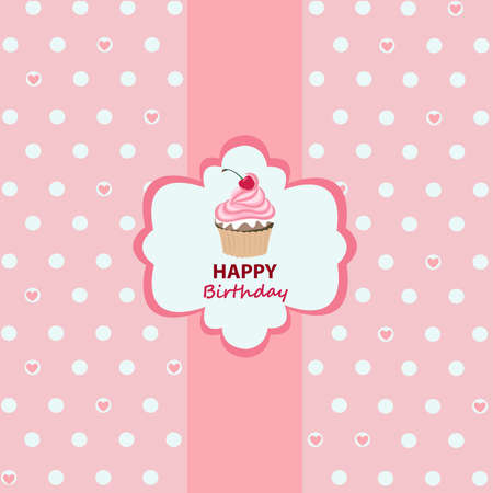 pink cake: Happy birthday greeting card