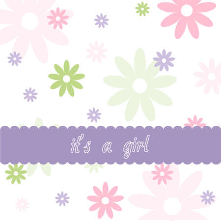 it s a girl: Floral pattern and Baby girl arrival card