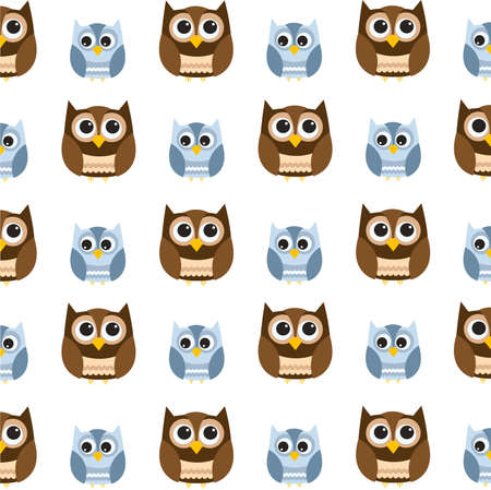 brown: Seamless owl pattern Illustration