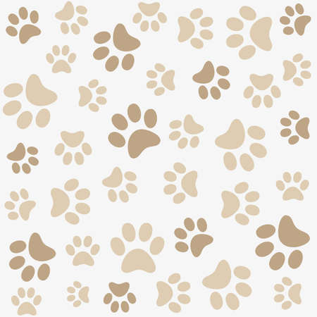 dog paw: Seamless animal pattern of paw footprint