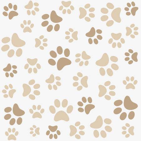 paw print: Seamless animal pattern of paw footprint