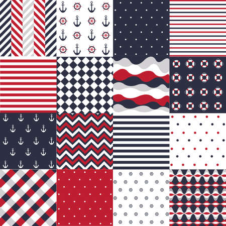 Seamless pattern with nautical elements 矢量图像