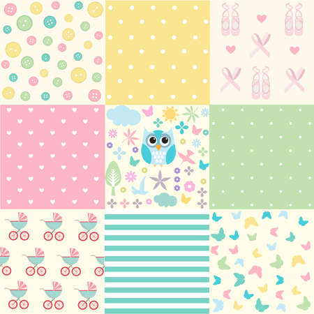 Cute Baby Seamless Set Vector