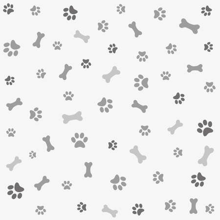 a print: Background with dog paw print and bone Illustration
