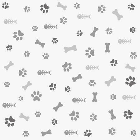 Background with paw print and fish bone Vectores