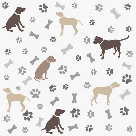 Background with dogs paw print and bone