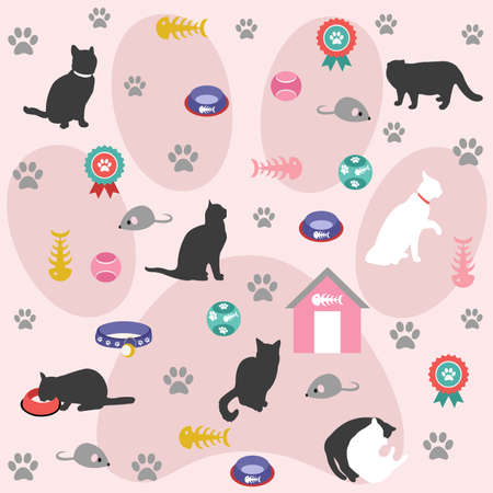 textile care: Seamless pattern, cat icons