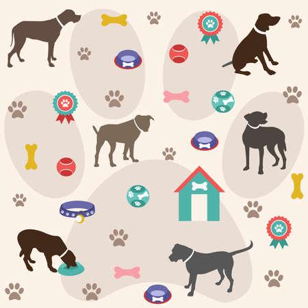huellas de perro: Patr�n sin fisuras, iconos de perro Vectores