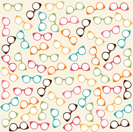 spectacle frame: Seamless colorful pattern with glasses