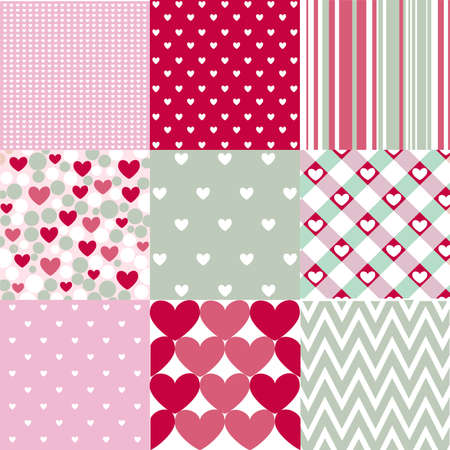 abstract love: Seamless patterns Valentines day Illustration