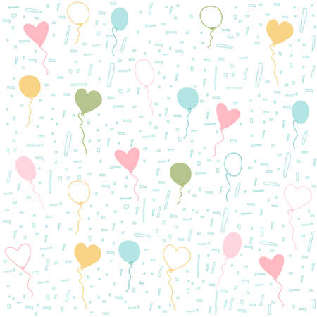 green day baby blue background: balloons pattern Illustration