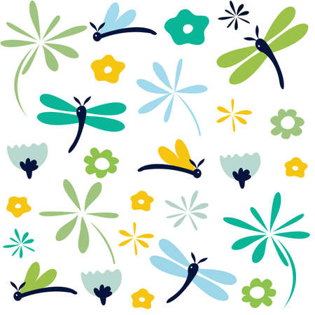 lepidoptera: dragonfly seamless floral pattern
