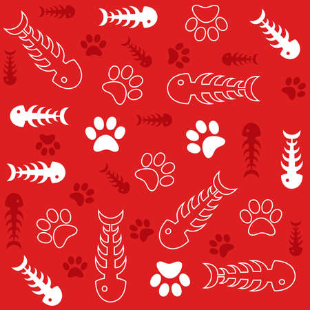 cat footprint: Seamless background with fish bones and cats paws on red Illustration