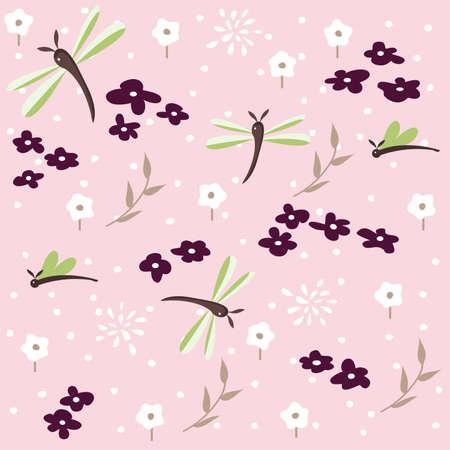 animal print: libélula patrón floral transparente Vectores