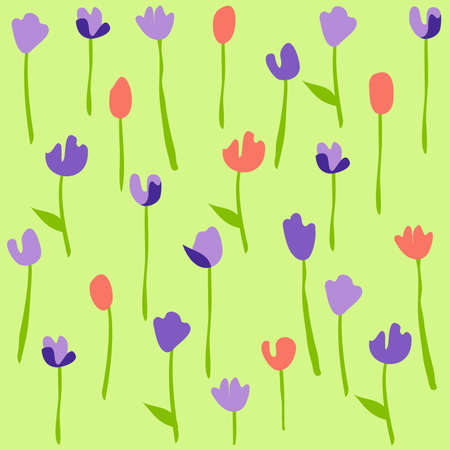 season s greeting: Seamless floral pattern with tulips