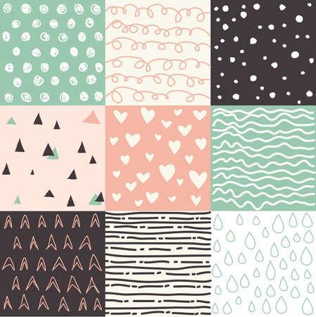 seamless patterns: Hand drawn set of seamless patterns