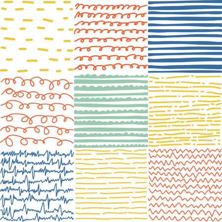 Set of abstract seamless patterns of lines Illustration