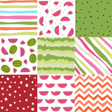 Seamless pattern with watermelon set, scrapbooking, summer watermelon set of digital paper Illustration