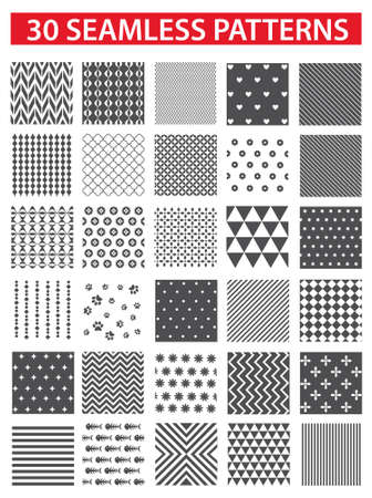 increased: 30 retro styled black vector seamless patterns: abstract, vintage, technology and geometric. Vector illustration
