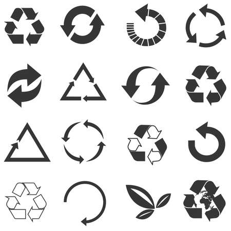reclamation: Recycled eco vector icon set