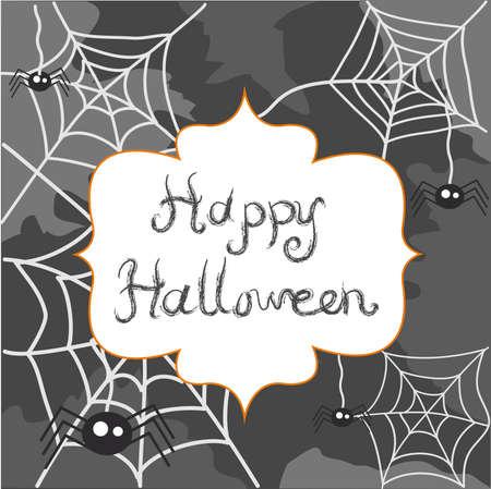 spider web: Halloween postcard