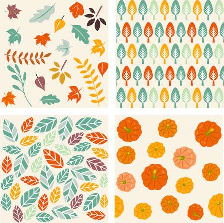 Set of autumn forest patterns