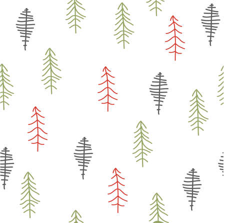 christmas gift: Seamless pattern with Christmas tree. Winter forest.
