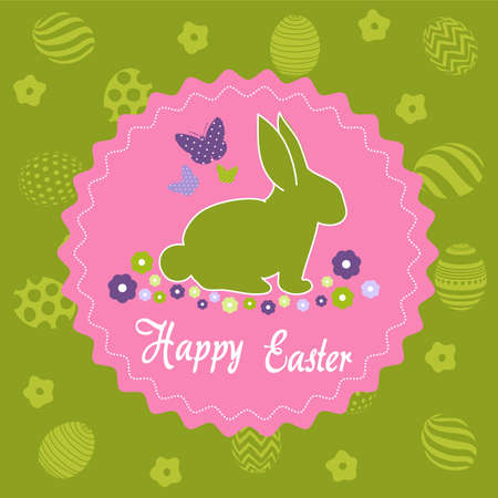 Easter Day greeting card, with bunny silhouette illustration.