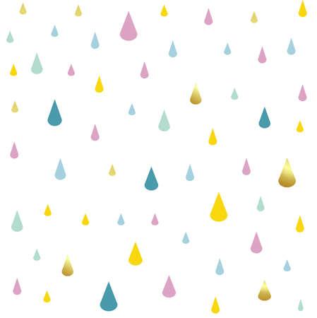 enfants, modèle, pluie, gouttes, vecteur, illustration