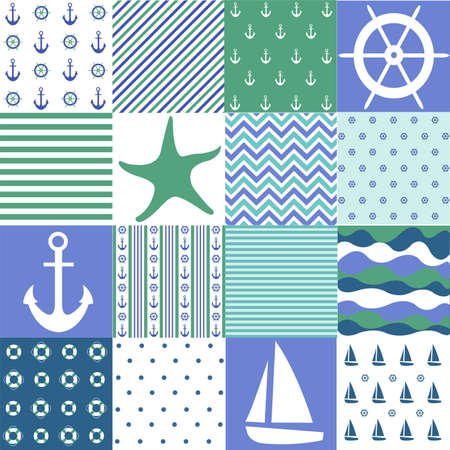 Sea seamless patterns, nautical design, marine elements