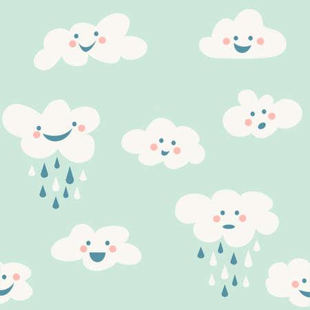 Cute baby cloud pattern vector seamless Vecteurs