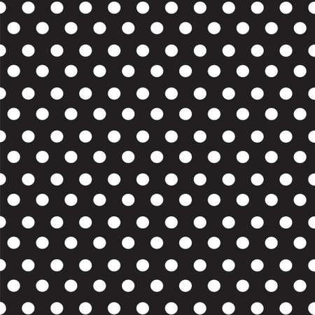 White dots polka on black background seamless pattern Ilustrace