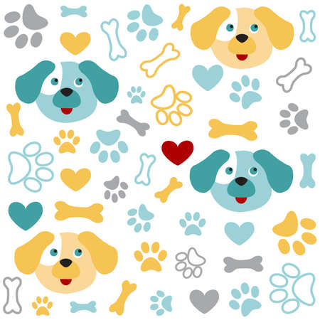 Background with dog paw print and bone Illustration