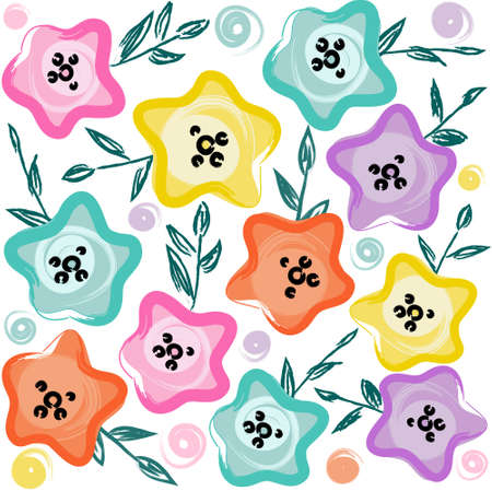Cute pastel floral pattern. Vector hand drawn illustration.
