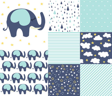 Set of baby shower patterns. Seamless pattern vector. Baby elephant vector set. Graphic design elements Vettoriali