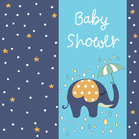 Baby shower greeting card with Elephant Illustration