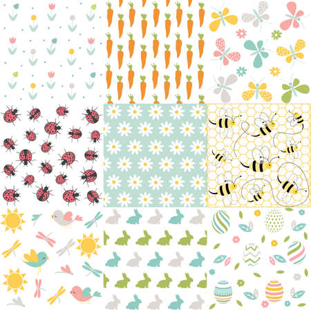 Spring, easter patterns. Vector seamless backgrounds. Ilustrace