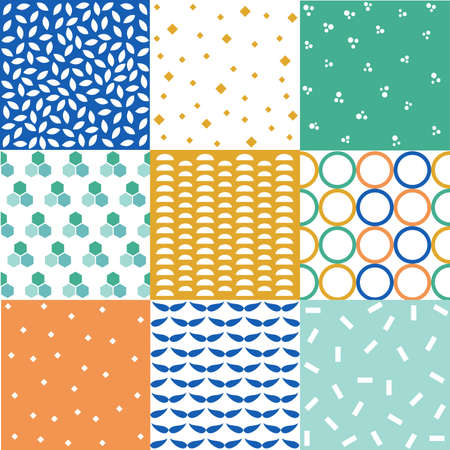 seamless patterns with fabric textures Illustration