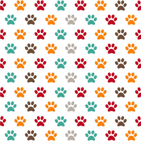 Seamless pattern with paws