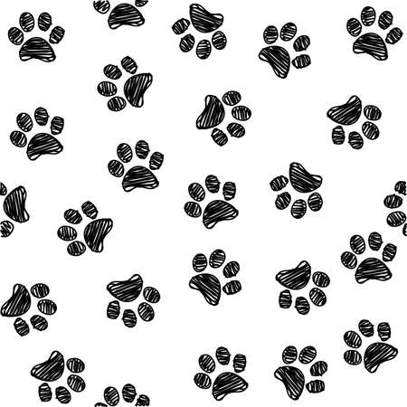 Seamless pattern with doodle dog paws. Black color animal print. Vector background.