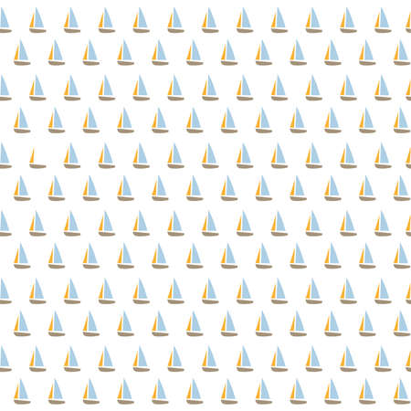 Cute seamless pattern with ships. Vector illustration