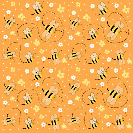 Seamless floral pattern with bees