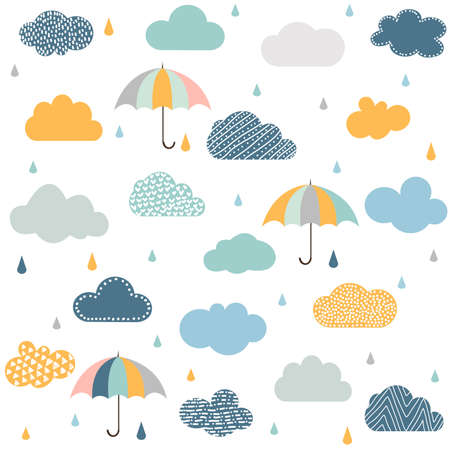 Seamless pattern with clouds, rain and umbrella
