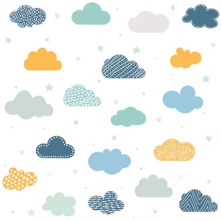 Childish seamless background with clouds and stars Çizim