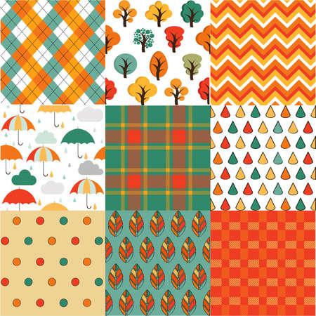 Autumn seamless backgrounds set