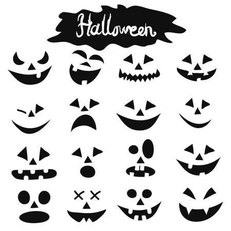 Halloween pumpkins figure faces set