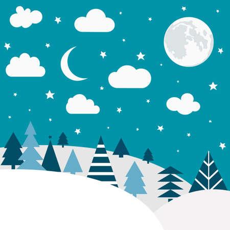 Cartoon nature winter landscape pattern. Illustration