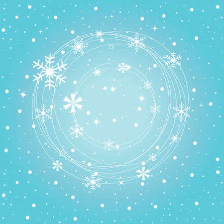 Winter snowflakes, on the blue background Stock Illustratie