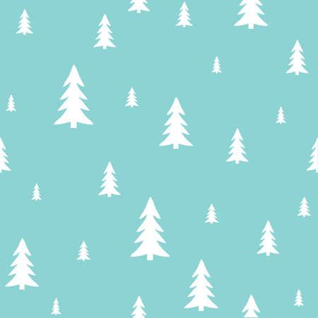White forest on a blue background.Holiday pattern, Christmas decoration. Ilustração