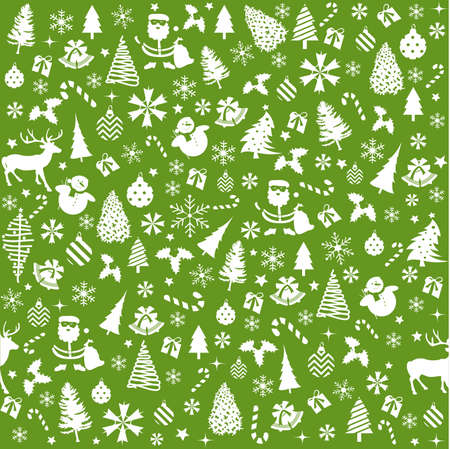 Christmas green background, seamless tiling, great choice for wrapping paper pattern  イラスト・ベクター素材